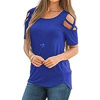 SoonerQuicker Frauen Sommer Kurzarm Riemchen Cold Shoulder T-Shirt Tops Blusen aus der Schulter Oben