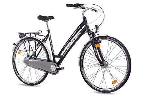 CHRISSON 28 Zoll Damen City Bike - Sereto 2.0 schwarz - Damenfahrrad mit 3 Gang Shimano Nexus Nabenschaltung und Nabendynamo, Cityrad mit Suntour Federgabel