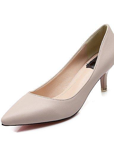 GS~LY Da donna-Tacchi-Ufficio e lavoro / Casual / Serata e festa / Formale-Tacchi / A punta-A stiletto-Finta pelle-Nero / Bianco / Carne / white-us6.5-7 / eu37 / uk4.5-5 / cn37
