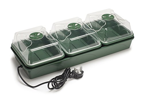 EarlyGrow MPL50034/P Heated Electric Shatter Resistant 3-Bay Windowsill Propagator 54.5 x 21.5 x 14.5 Centimetres - Green