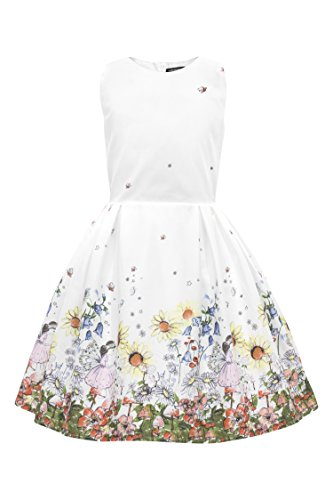 BlackButterfly Kinder 'Kira' Vintage Flora Mädchen Kleid im 50er-Jahre-Stil (Weiß, 13-14 J / 158-164)