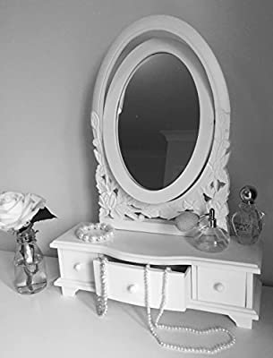 Adjustable French Style Dressing Table Mirror in White. produced by Sylvester Oxford Ltd - quick delivery from UK.