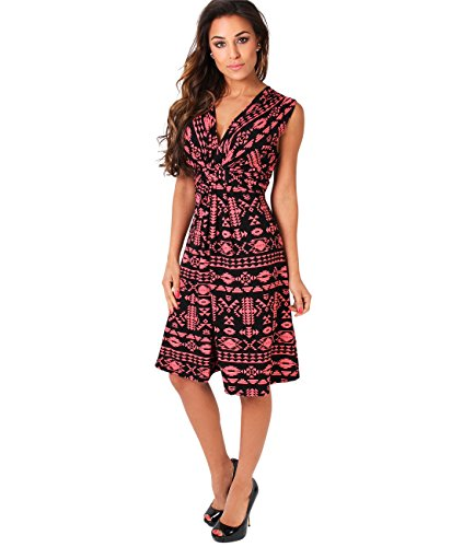 KRISP Damen Kleid 6607 Rosa (Koralle/Schwarz 36)