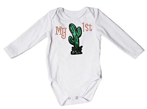 My 1st Sequin Cactus Dress L/s White Jumpsuit Bodysuit Baby Romper Nb-18m (3-6 Months)