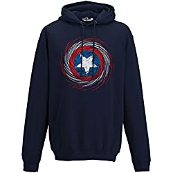 Sudadera capucha de Capitán América con logotipo de la película y los cómics, de hombre, KFC01318_M, New French Navy Blue, Medium