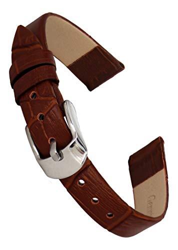 Doon Cinturino Recambio in Pelle di Colore Marrone, Chiusura Fibbia, 10mm