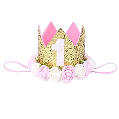 iiniim Festival Birthday Party Lace Letter Flower Crown Headband DIY Rose Gift Children Girls Hair Accessories