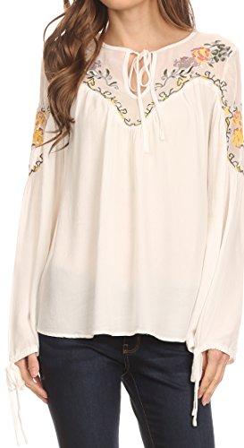 Sakkas HRF20 - Enya Long Sleeve Adjustable Bell Sleeve Batik Blouse Top Shirt-Weiß-XL (Batik-bluse)