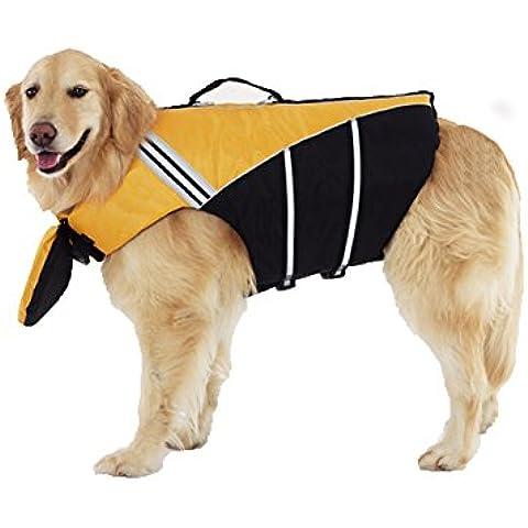 Lalawow cane giubbotto regolabile Easy-Fit cane vita gilet sicurezza durevole vestiti cane salvagente con forza la maniglia (Giallo, L)