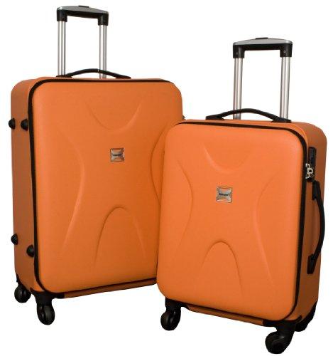 2tlg.Kofferset Riga Farbe orange PP-Kunststoff Hartschale Reisekoffer Trolley Case Fa. Bowatex