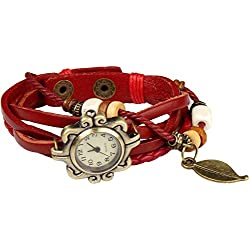 Bohemian Style [Waterproof] Retro Handmade Leather [Angel Wing Pendant Wrist Watch] Fashionable, Luxury & Stylish Weave Around [Wrap Watch Bracelet] For Women Ladies Girls. [Scratch Resistant]- Rose