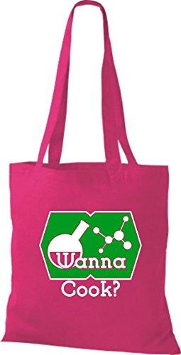 ShirtInStyle Stoffbeutel Baumwolltasche Wanna Cook? Reagenzglas Test Tube Molekül Farbe Pink fuchsia