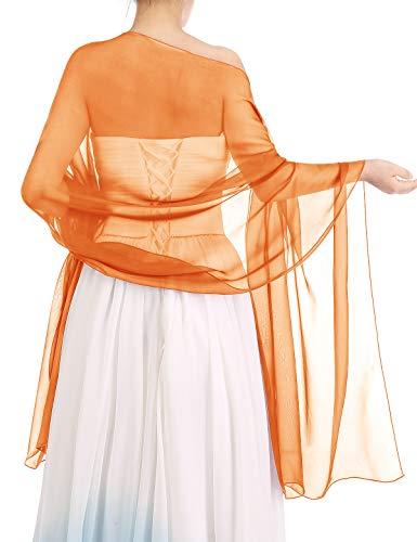 bbonlinedress Schal Chiffon Stola Scarves in verschiedenen Farben Orange 180cmX72cm -