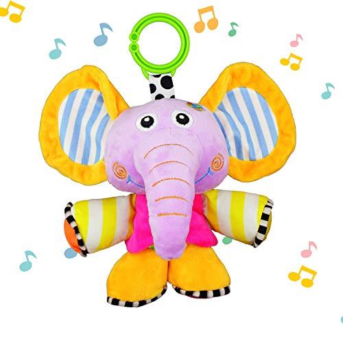 JAMSWALL Juguetes Musicales Elefante, Colgantes para cochecitos cunas de Peluche Animal Infantil para Arrastrar con Sonidos para Bebés recién Nacidos Niños (Elephant)