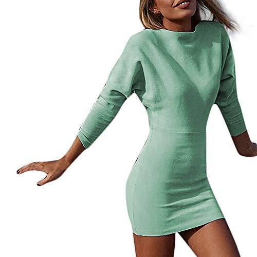 SHOBDW Mode Damen Sexy Einfach Solid O-Neck Langarm Elegant Pullover Bodycon Slim Minikleid Frauen Dünn Trendigen Lang Bluse Tops Röcke Minikleid Abendkleid Kleider
