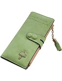 KOROWA Doble hebilla accesorios paraguas borla cremallera billetera señora embrague clip cartera