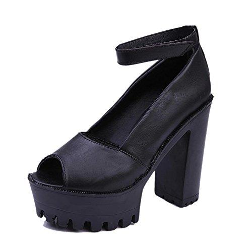 Zormey Frauen Sandalen Neue 2016 Sommer Schuhe Open Toe Sandalen Plattform Dicke Ferse High-Heeled Schuhe Weiß Schwarz Frauen Schuhe Größe 35-39 6