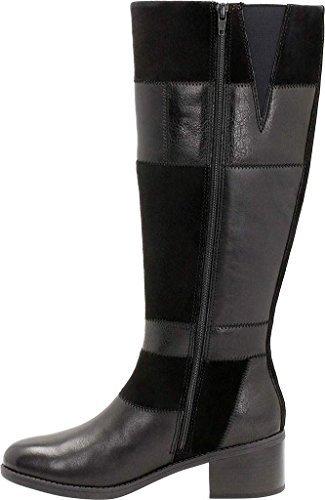 CLARKS Womens Nevella Nova Riding Boot, Black/Multi Leather, 8 womens_us