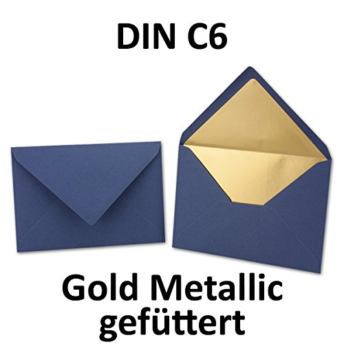 Kuverts in Blau | 25 Stück | Brief-Umschläge in DIN C6 Format | Naßklebung mit Gummierung | matte Oberfläche & Gold-Metallic Fütterung | formstabile Post-Umschläge für Weihnachten & festliche Anlässe