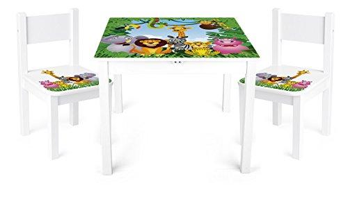 Leomark Tisch und Stühle für Kinder, 1 Tisch plus 2 Stühle Motiv: Dschungel Tiere, Kindertisch Kindersitzgruppe Sitzgruppe für Kinder Kinderstuhl -