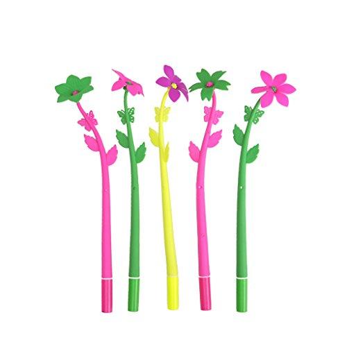Green & Rare, 5 penne gel unisex con inchiostro gel per cancelleria creativa da ufficio, finto piante, fiori in morbido silicone, 0,5 mm