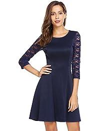 Zeela Damen Elegantes Spitze Kleid Kurze Patchwork Rundhals Abendkleider  Partykleider Brautjungfernkleid 4d57c75cca
