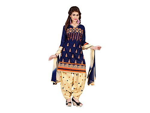Designer Blue Cotton Embroidered patiala Suit