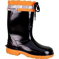 BOCKSTIEGEL® LINUS Bambini - Stivali di gomma con Strisce riflettenti (Taglie: 22-35), Colori:Black/Orange;Dimensioni:32