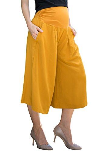Sweet Mommy Schwangerschaftshose für Damen, elastisch, breites Bein, Gaucho Culottes - Gelb - Groß -