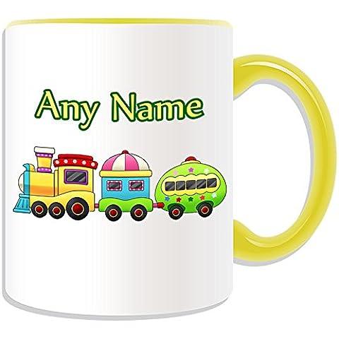 Regalo de tren y.p personaliseitonline - taza (transporte rénovation, colores) - nombre/mensaje en su único juguete - rieles de tren de pasajeros de carga pública locomotora de vapor Trahiner cabaña en la noche fults Nonk Ninky, cerámica, amarillo