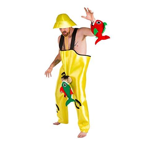 Imagen de disfraz de pescador con piraña picando para hombres