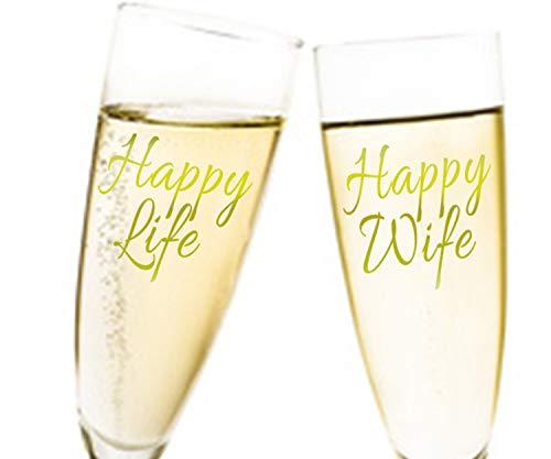 Aufkleber Hochzeit für Sektglas - Happy Life Happy Wife Duo 2tlg. selbstklebend Brautpaar Dekoration Farbe Gold, Größe 10 Stk