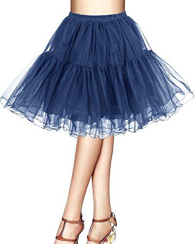 Bridesmay Kurz Retro Petticoat Rock 1950er Vintage Tutu Ballett Unterkleid Navy M (1950 Minze Kleid)