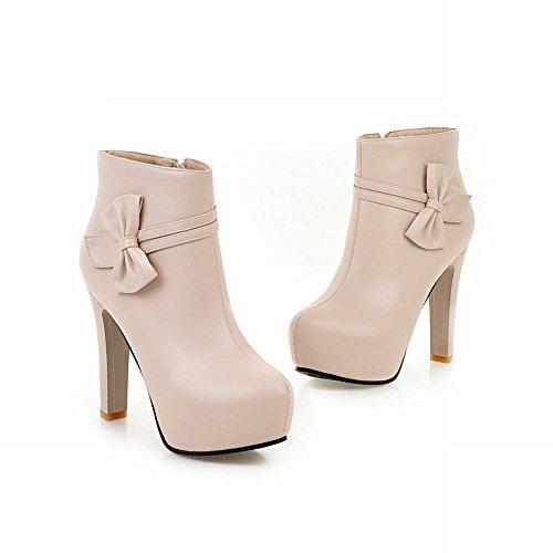 Mee Shoes Damen mit Schleife Plateau runde high heels Stiefel Beige