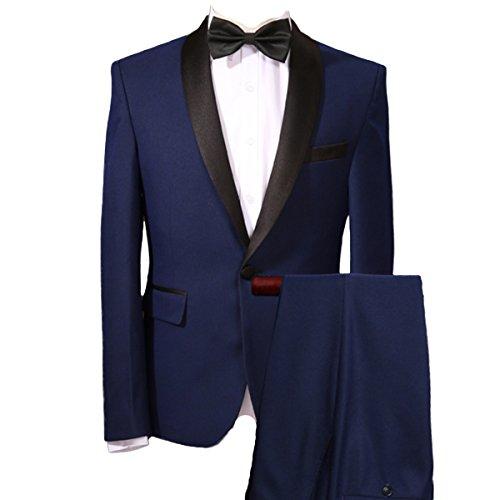 Herren 2-Teilig Anzüge Smoking Tuxedo Sakko und Hose von YOUTHUP Blau M (2 Smoking Blau)