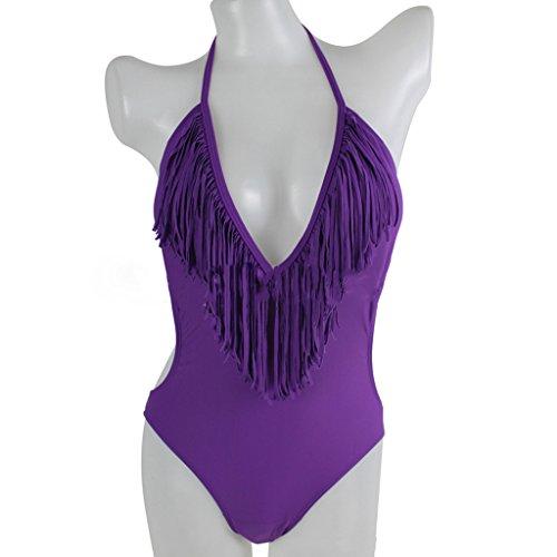 Pièce monobloc col en V, pour maillot de bain Bikini Maillot de bain Violet - Violet
