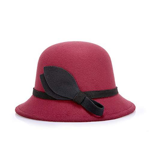 XFGBTJKYUT Frauen Wollmütze Hut Mode Hut Mode Hut Mütze (Color : Wine Red, Size : 57cm) (Filz Schwarzen Derbyhut)