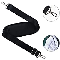 Shoulder Strap BOMKEE Universal Replacement Adjustable Bag Strap with 59 Inch Metal Swivel Hooks and Non-slip Pad for Laptop Case Briefcase Messenger Bag Diaper Bag Camera Bag Travel Bag (Black)