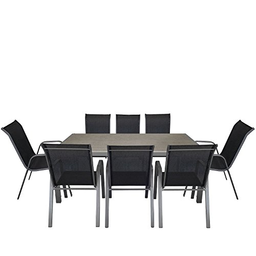 9tlg. Gartengarnitur Aluminium Polywood Gartentisch 205x90cm + stapelbarer Gartenstuhl Stapelstuhl...
