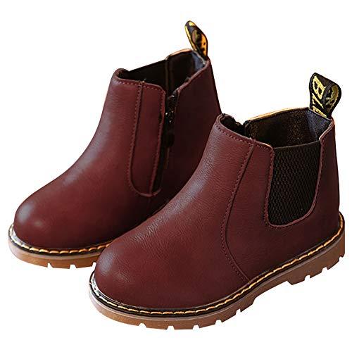 Nasonberg Jungen Mädchen Winter Leder Schneestiefel Warme weiche Winterschuhe Boots für Kinder Baby,Rot,28 EU