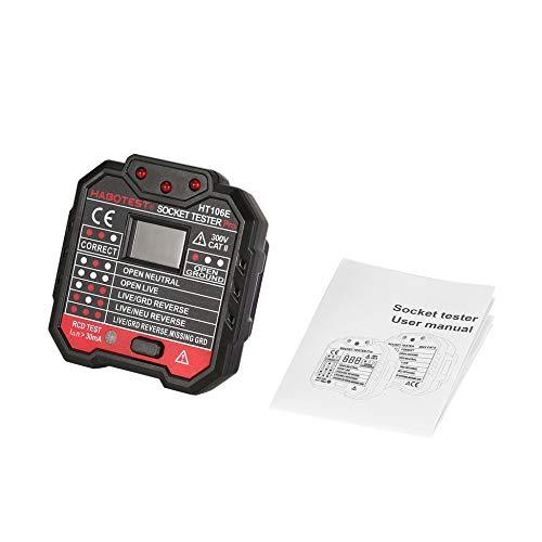 HABOTEST HT106E Voltage Test Socket Testers Detector Ground Zero Line Plug UK Black Line Voltage Tester
