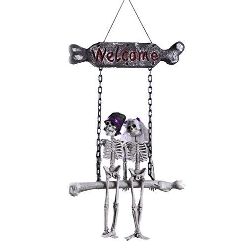 Amosfun Skeleton Braut-und Bräutigam-Geist-Schädel-Halloween-hängende Tür verziert Dekoration (Zu Halloween-ideen Machen Zu Niedliche Hause)