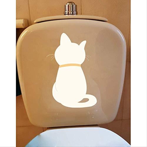 BLLXMX 13,7 * 23 cm Toilettenaufkleber Wohnzimmer Dekoration Wandaufkleber Die Silhouette der Katze