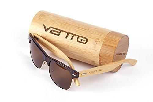 Vento Eyewear® Modelo Sirocco TeaTwice - Gafas de Sol de Madera de bambú, diseñadas en Italia con certificados CE y protección UV400, Marco marrón Lentes marrón