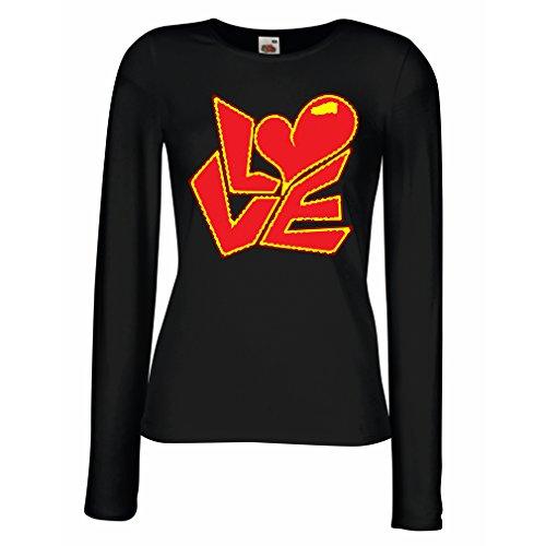Weibliche Langen Ärmeln T-Shirt Zitate und Sprüche über Liebe -Ich Liebe Dich Geschenke (Medium Schwarz Mehrfarben)