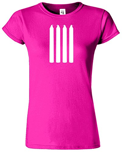 Four Candles Femmes T-shirt Short Sleeve Top Comedy T-shirt Heliconia / Blanc Design
