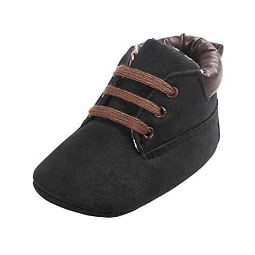 FNKDOR Baby Jungen Mädchen Lauflernschuhe Rutschfest Weiche Schuhe für Neugeborene 0-18 Monate (12-18 Monate, Schwarz)