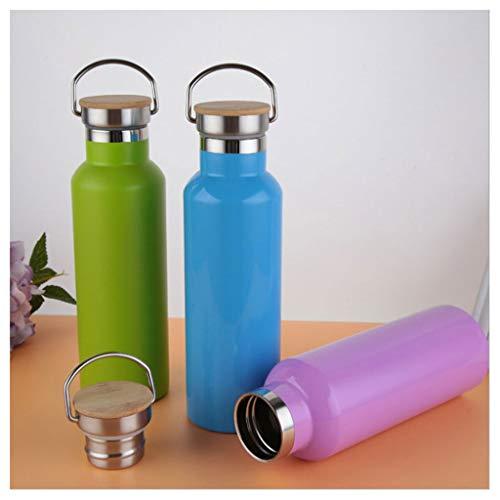 Edelstahl Wasserflasche tragbar AXZXC 500ml-750ml Wasserflasche Isolierte Vakuumisolierung Traveler Outdoor Wasserkocher Blau Grün (Color : Green Blue, Size : 500ml 750ml) -