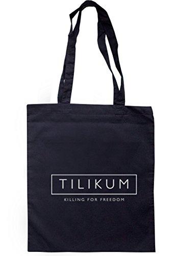 breadandbutterthreads Tilikum Uccisione Per libertà borsa 37,5cm x 42cm con manici lunghi Navy