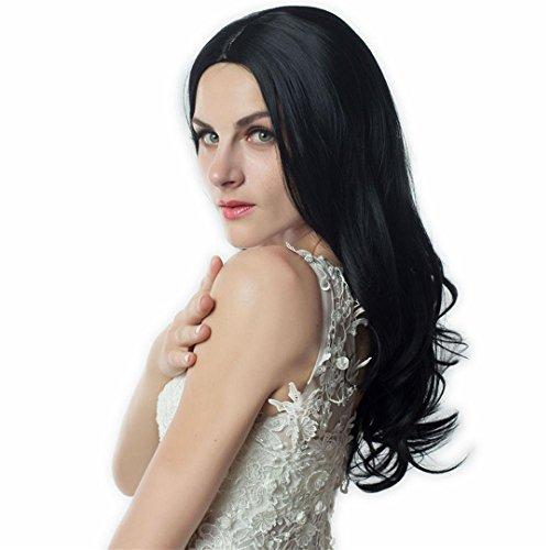 e Farbe Lange Blonde synthetischen Perücken für schwarze/weiße Frauen hohe Temperatur Cosplay gefälschtes Haar Sexy Perücke #1B 26 Zoll (Party Stadt Sexy Halloween Kostüme)